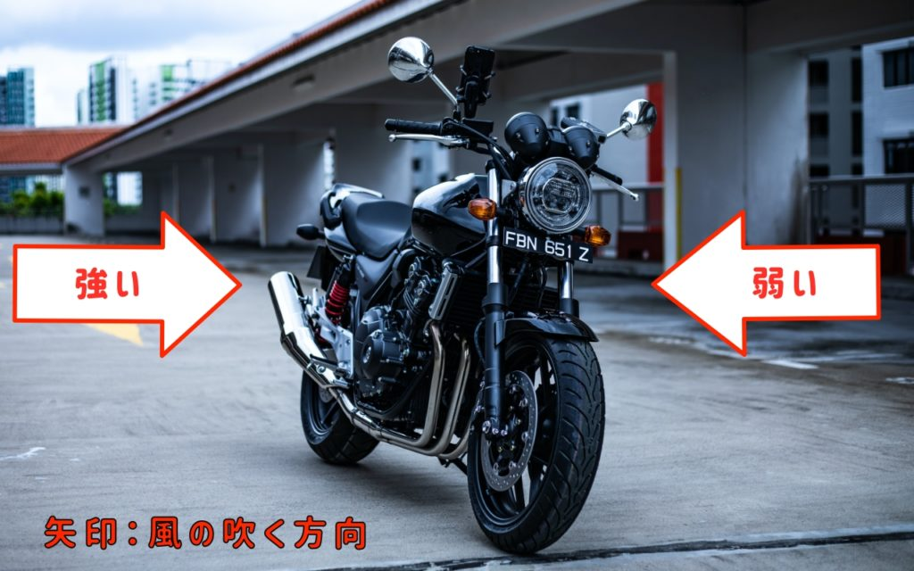バイク台風対策:風下にサイドスタンドを立てる