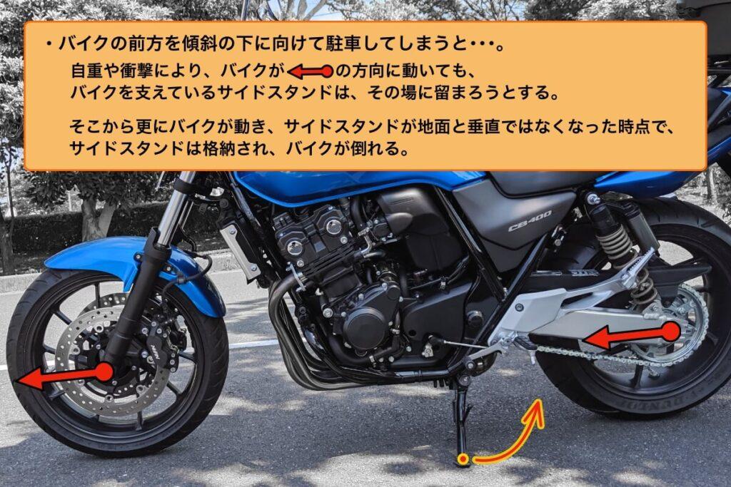 転倒注意!バイクを坂道で安全に駐車する2つのポイント:サイドスタンドの動き