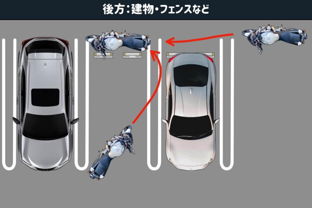 【賃貸・マンション】車の後ろにバイクを駐車:搬入経路